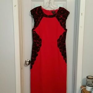 Red with black lace Dress